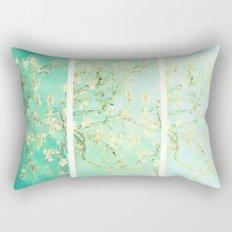 Vincent Van Gogh Almond Blossoms Panel art Aqua Green Rectangular Pillow