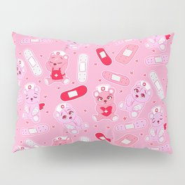 Menhera Nurses on Pink Featuring bears and bandages Pillow Sham