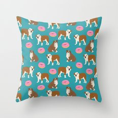 English Bulldog sprinkle pink donuts cute colorful children pets fur baby pet portrait bulldog gifts Throw Pillow