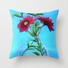Glass vase with pink flowers Throw Pillow
