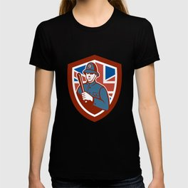 British Bobby Policeman Truncheon Flag Shield Retro T-shirt