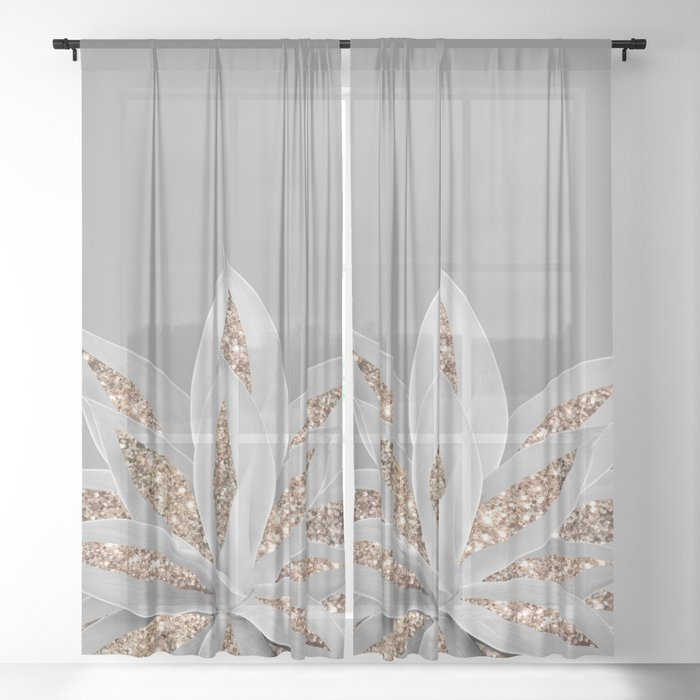 Gray Agave with Gold Glitter #1 #shiny #tropical #decor #art #society6 Sheer Curtain