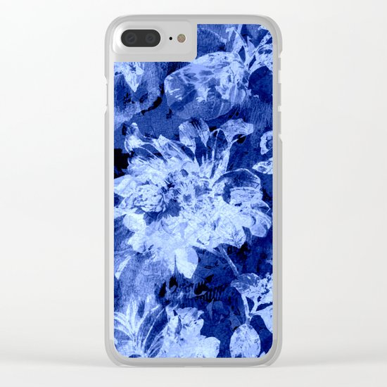 blue double floral Clear iPhone Case