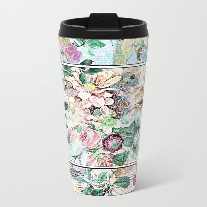 Pretty flowers on wood Metal Travel Mug