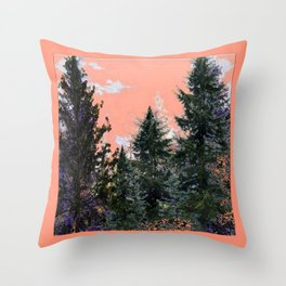 CORAL PINK WESTERN PINE TREES MOUNTAIN LANDSCAPE Throw Pillow