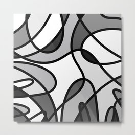 Grayscale Curves - Black and white abstract Metal Print