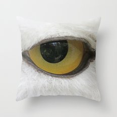 In the eye of a snow owl Throw Pillow