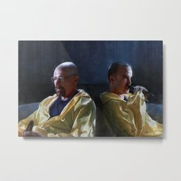 Walter White and Jesse Having A Beer After A Long Day's Work - Breaking Bad Metal Print