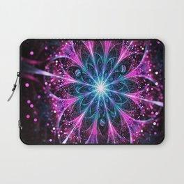 Winter violet glittered Snowflake or flower Background Laptop Sleeve