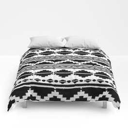 (N12) Moroccan Vintage Black and White Ethnic Artwork. Comforters