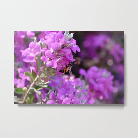 Bubble Bee on Lilac Flowers Metal Print