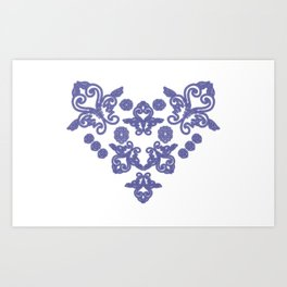 'Love 04' - Heart of lace in blue Art Print