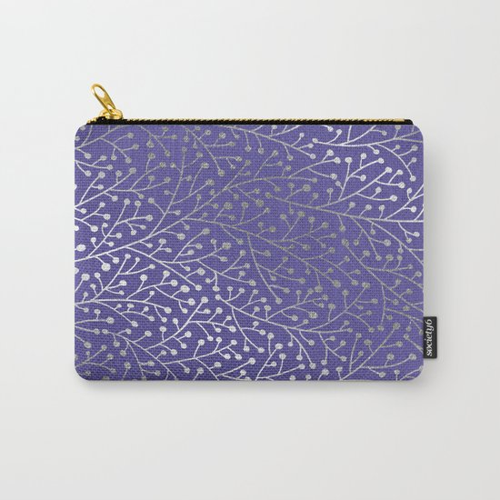 Periwinkle Berry Branches Carry-All Pouch