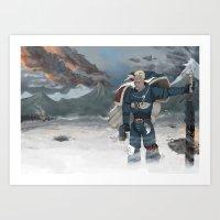warhammer Art Prints featuring Warhammer 40,000 Space Wolf Marine by Derek Boman