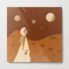 The Woman who Planted Flowers on the Moon Metal Print