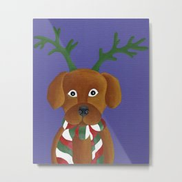 Christmas Pup Metal Print
