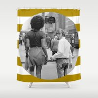 woody allen Shower Curtains featuring WOODY ALLEN IN NEW YORK by VAGABOND