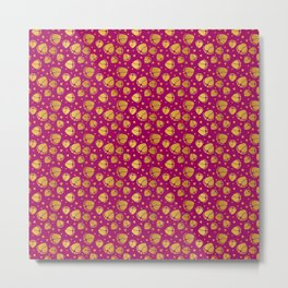 Pattern with Baby Feet  and Hearts in gold color Metal Print