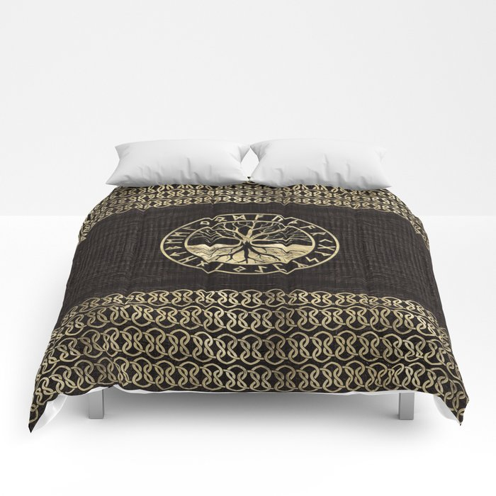 Tree of life  -Yggdrasil and  Runes on wooden texture Comforters