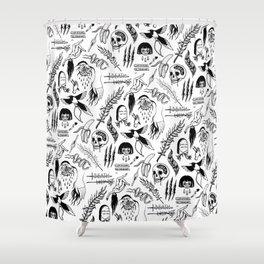 Death Lily Tattoo Flash Print Shower Curtain