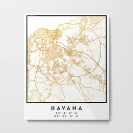 HAVANA CUBA CITY STREET MAP ART Metal Print