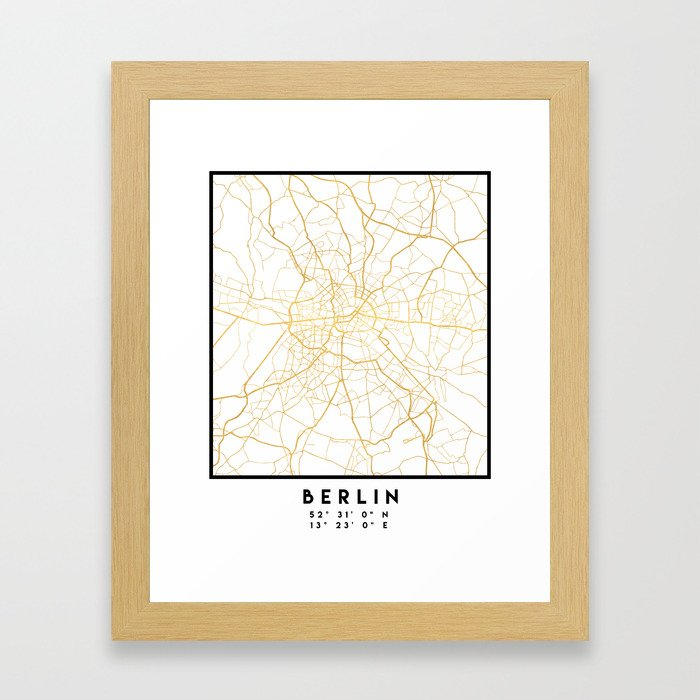 BERLIN GERMANY CITY STREET MAP ART Gerahmter Kunstdruck