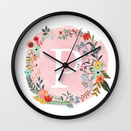 Flower Wreath with Personalized Monogram Initial Letter P on Pink Watercolor Paper Texture Artwork Wall Clock