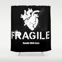 anatomical heart Shower Curtains featuring Fragile Anatomical Heart(INVERT) by J ō v