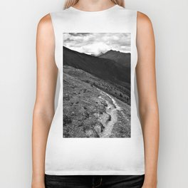 narrow hiking path alps serfaus fiss ladis tyrol austria europe black white Biker Tank