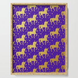 Purple and Gold Unicorn and Stars Pattern Serving Tray
