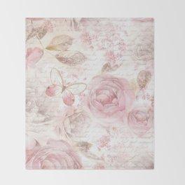 Vintage pastel pink brown butterfly floral typography Throw Blanket