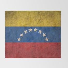 Old and Worn Distressed Vintage Flag of Venezuela Throw Blanket