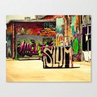 grafitti Canvas Prints featuring Slum Grafitti by Squint Photography