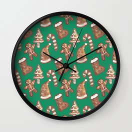 Ginger Biscuit Green Wall Clock