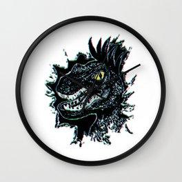 Grunge Velociraptor Portrait Wall Clock