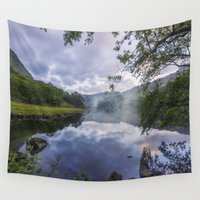 tomb raider Wall Tapestries featuring Lakeside Dreams by Ian Mitchell