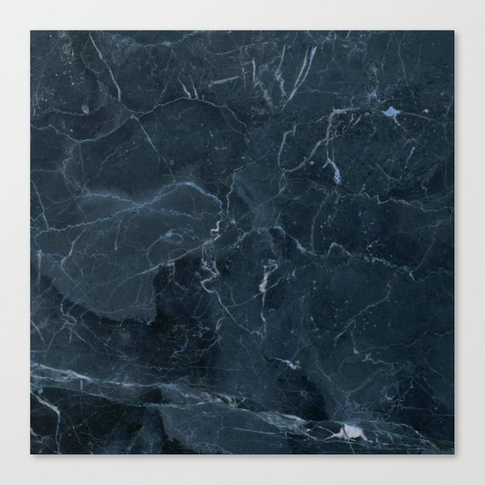 Dark blue marble texture Canvas Print