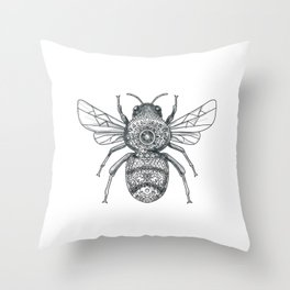 Bumble Bee Mandala Tattoo Throw Pillow