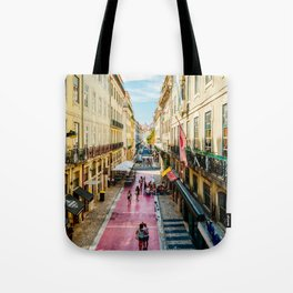 Beautiful Pink Street Downtown Lisbon City, Wall Art Print, Modern Architecture Art, Poster Decor Tote Bag