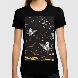 Flying Egrets With Black Background T-shirt