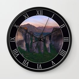 Meteora at sunrise Wall Clock