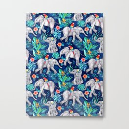 Elephants and Parrots in Indigo Blue Metal Print