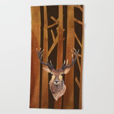 Proud deer in forest 1- Watercolor illustration Beach Towel