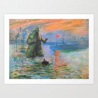 kaiju Art Prints featuring Impression Kaiju by Hillary White