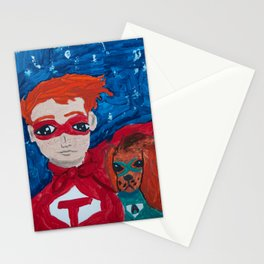 ~ Superhero Boy and His Loyal Sidekick ~ Redhead & Ruby King Charles Cavalier Spaniel Stationery Cards