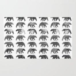 Watercolor Bear - Black & White Rug