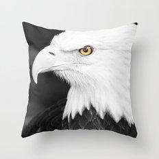 Bald Eagle with Yellow Eye Throw Pillow