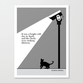 George Orwell, 1984, cat art literary quote Canvas Print