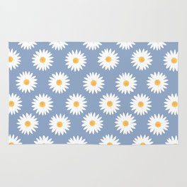 Blue daisy pattern Rug