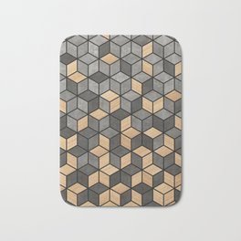 Concrete and wood cubes Bath Mat